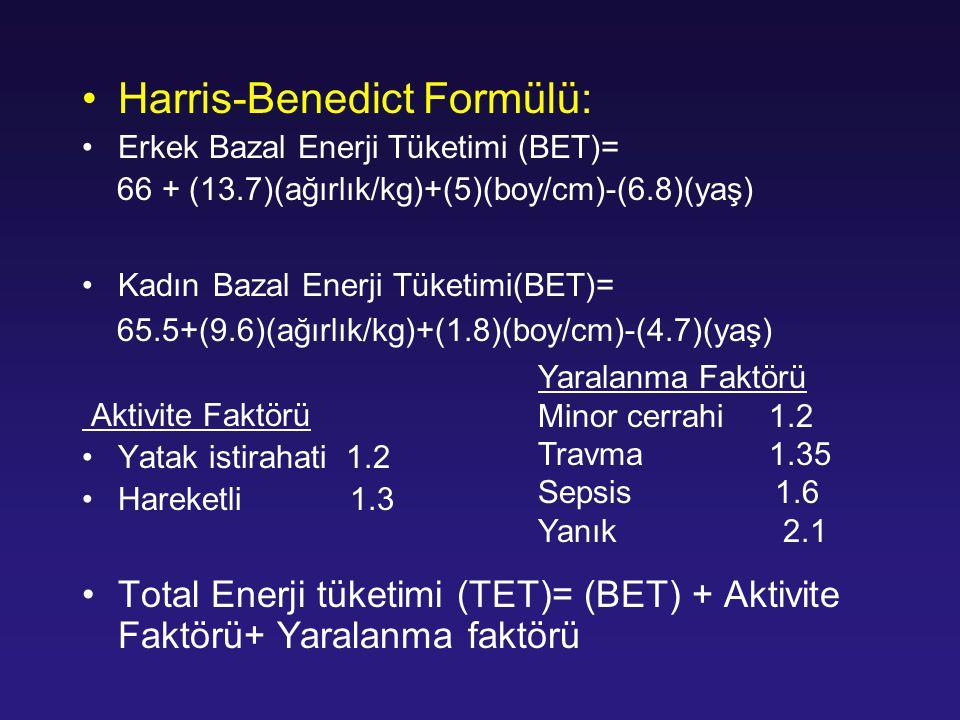 Harris-Benedict Formülü: Erkek Bazal Enerji Tüketimi (BET)= 66 + (13.7)(ağırlık/kg)+(5)(boy/cm)-(6.8)(yaş) Kadın Bazal Enerji Tüketimi(BET)= 65.5+(9.6
