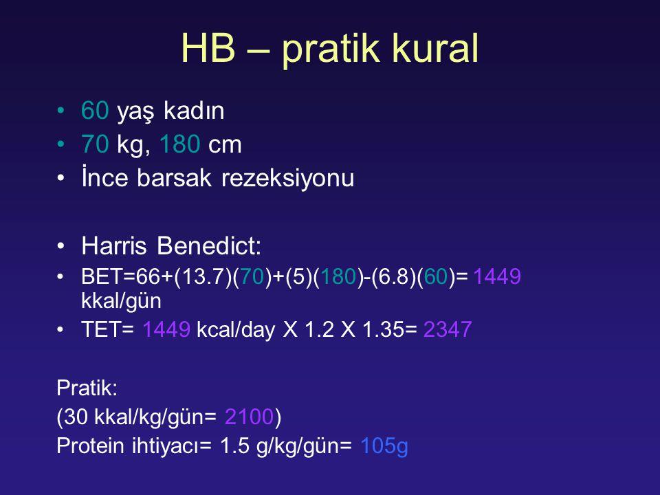 HB – pratik kural 60 yaş kadın 70 kg, 180 cm İnce barsak rezeksiyonu Harris Benedict: BET=66+(13.7)(70)+(5)(180)-(6.8)(60)= 1449 kkal/gün TET= 1449 kc