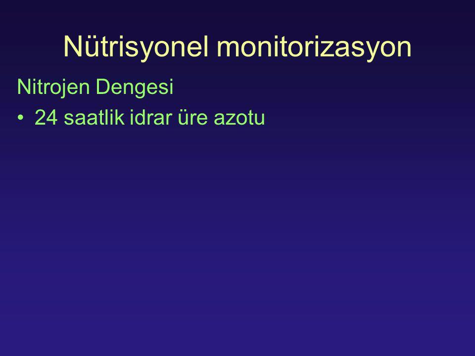 Nütrisyonel monitorizasyon Nitrojen Dengesi 24 saatlik idrar üre azotu