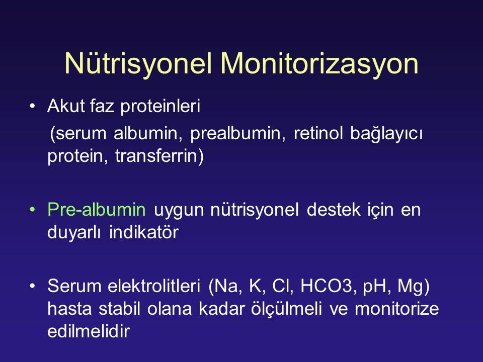 Nütrisyonel Monitorizasyon Akut faz proteinleri (serum albumin, prealbumin, retinol bağlayıcı protein, transferrin) Pre-albumin uygun nütrisyonel dest