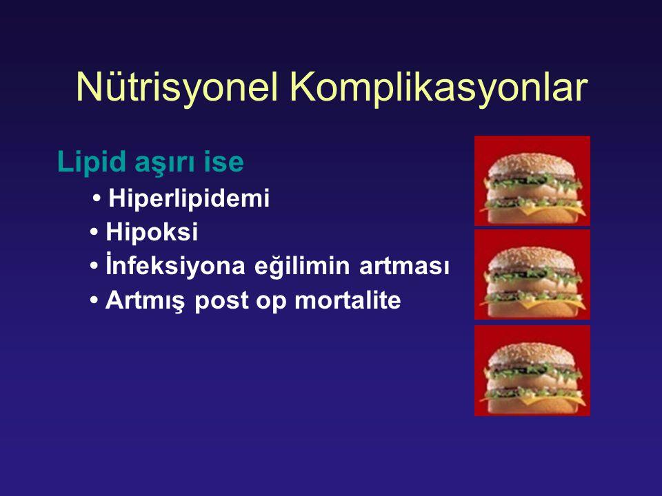 Nütrisyonel Komplikasyonlar Lipid aşırı ise Hiperlipidemi Hipoksi İnfeksiyona eğilimin artması Artmış post op mortalite