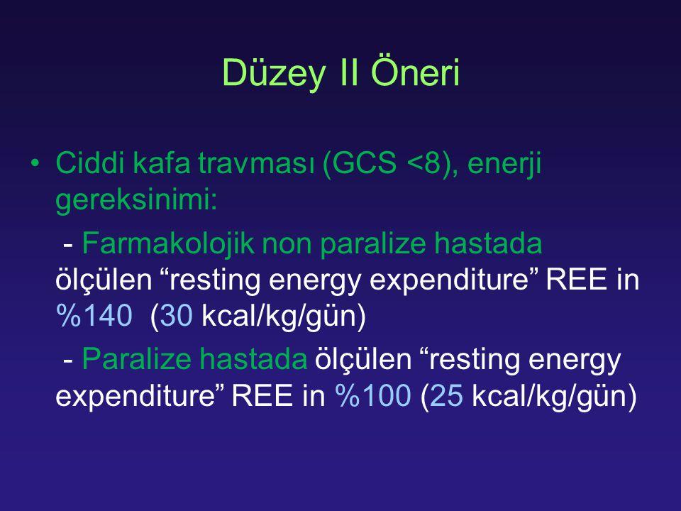 """Düzey II Öneri Ciddi kafa travması (GCS <8), enerji gereksinimi: - Farmakolojik non paralize hastada ölçülen """"resting energy expenditure"""" REE in %140"""