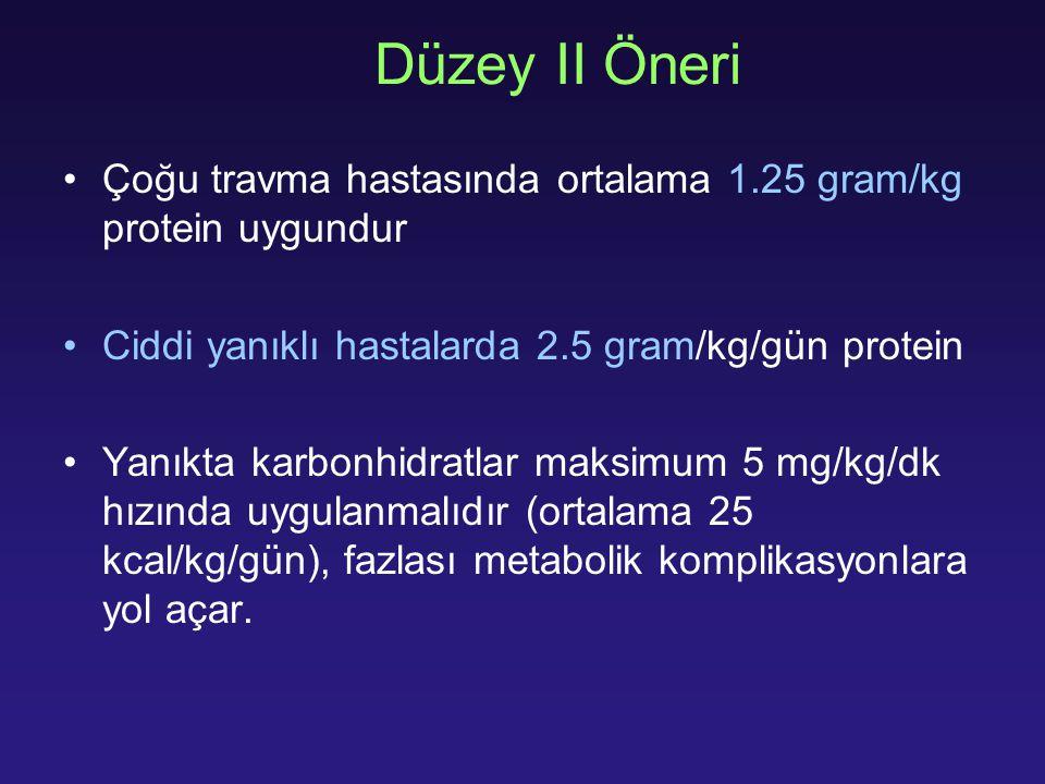 Düzey II Öneri Çoğu travma hastasında ortalama 1.25 gram/kg protein uygundur Ciddi yanıklı hastalarda 2.5 gram/kg/gün protein Yanıkta karbonhidratlar