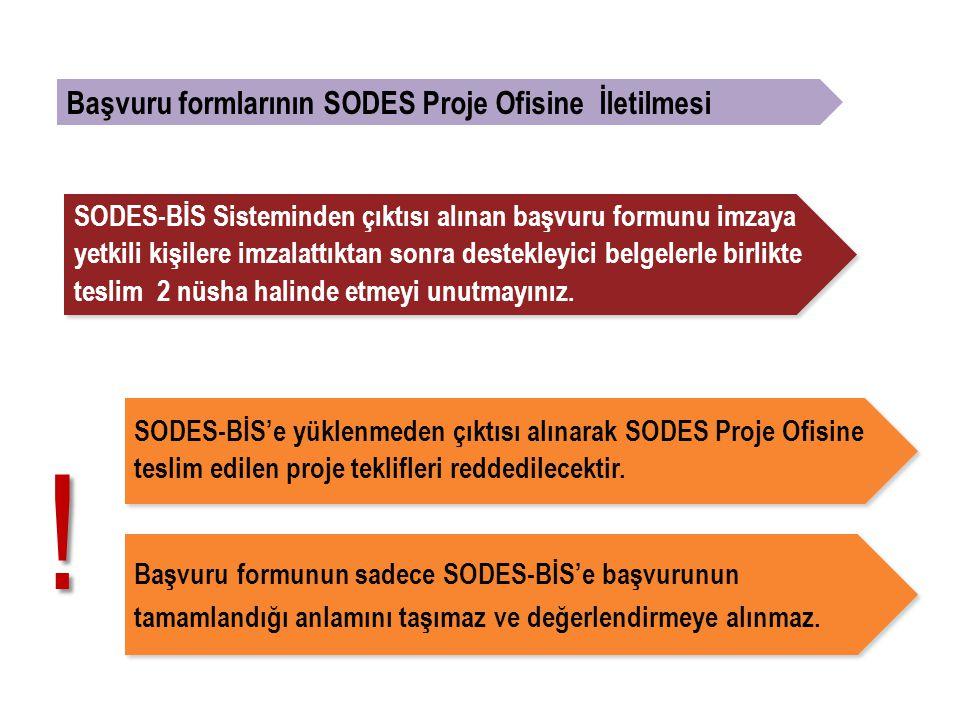 Başvuru formlarının SODES Proje Ofisine İletilmesi SODES-BİS'e yüklenmeden çıktısı alınarak SODES Proje Ofisine teslim edilen proje teklifleri reddedilecektir.