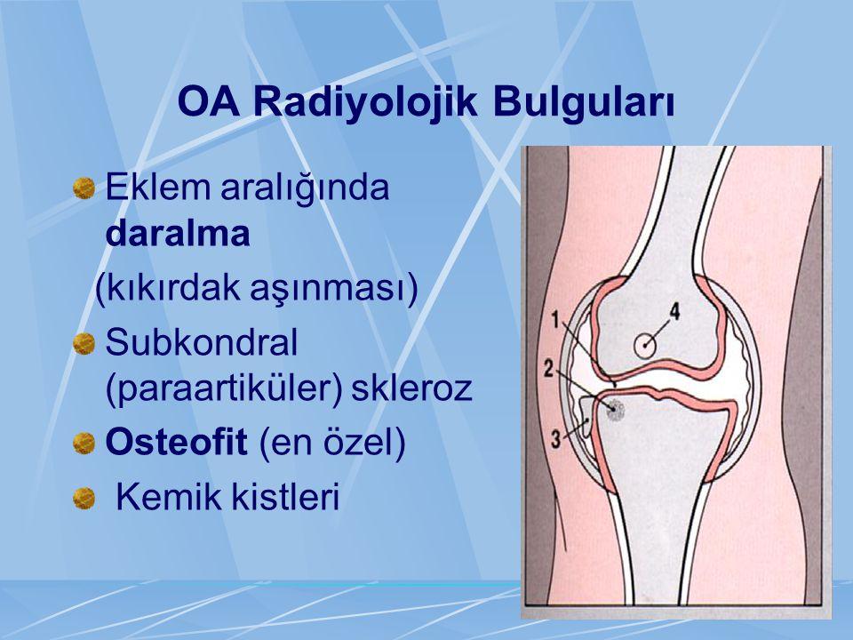 OA Radiyolojik Bulguları Eklem aralığında daralma (kıkırdak aşınması) Subkondral (paraartiküler) skleroz Osteofit (en özel) Kemik kistleri
