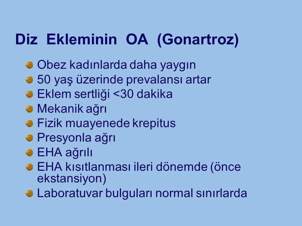Diz Ekleminin OA (Gonartroz) Obez kadınlarda daha yaygın 50 yaş üzerinde prevalansı artar Eklem sertliği <30 dakika Mekanik ağrı Fizik muayenede krepi