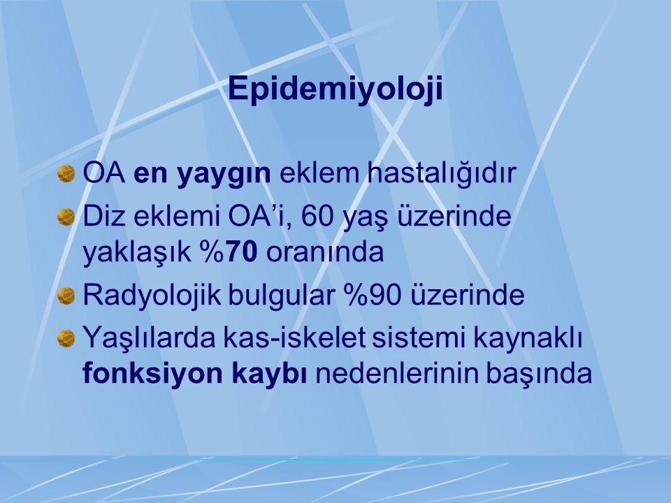 Epidemiyoloji OA en yaygın eklem hastalığıdır Diz eklemi OA'i, 60 yaş üzerinde yaklaşık %70 oranında Radyolojik bulgular %90 üzerinde Yaşlılarda kas-i