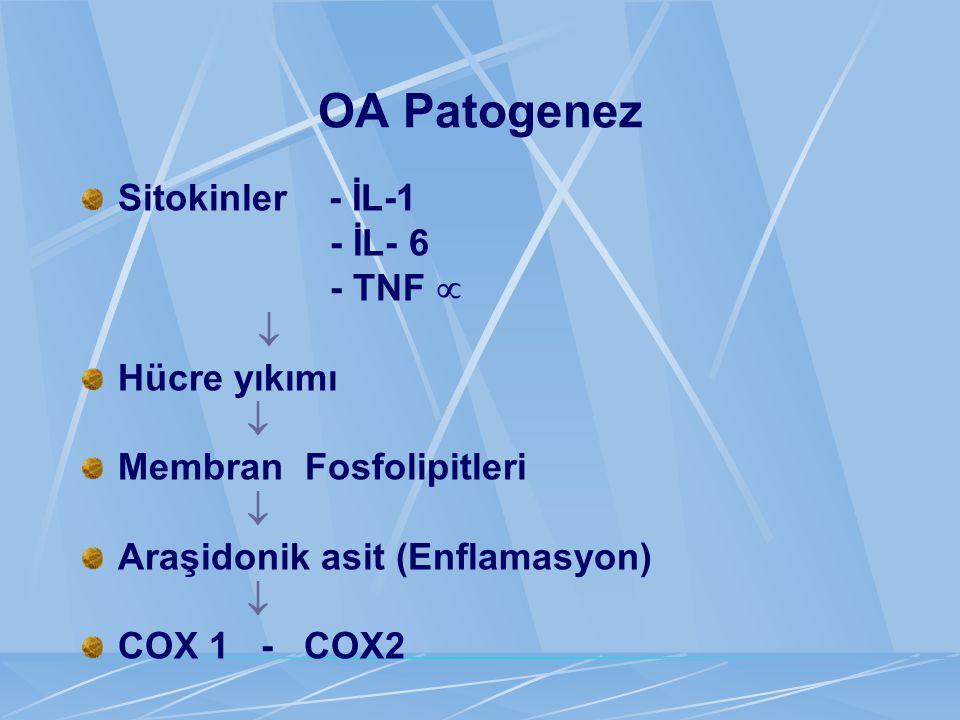 OA Patogenez Sitokinler - İL-1 - İL- 6 - TNF   Hücre yıkımı  Membran Fosfolipitleri  Araşidonik asit (Enflamasyon)  COX 1 - COX2