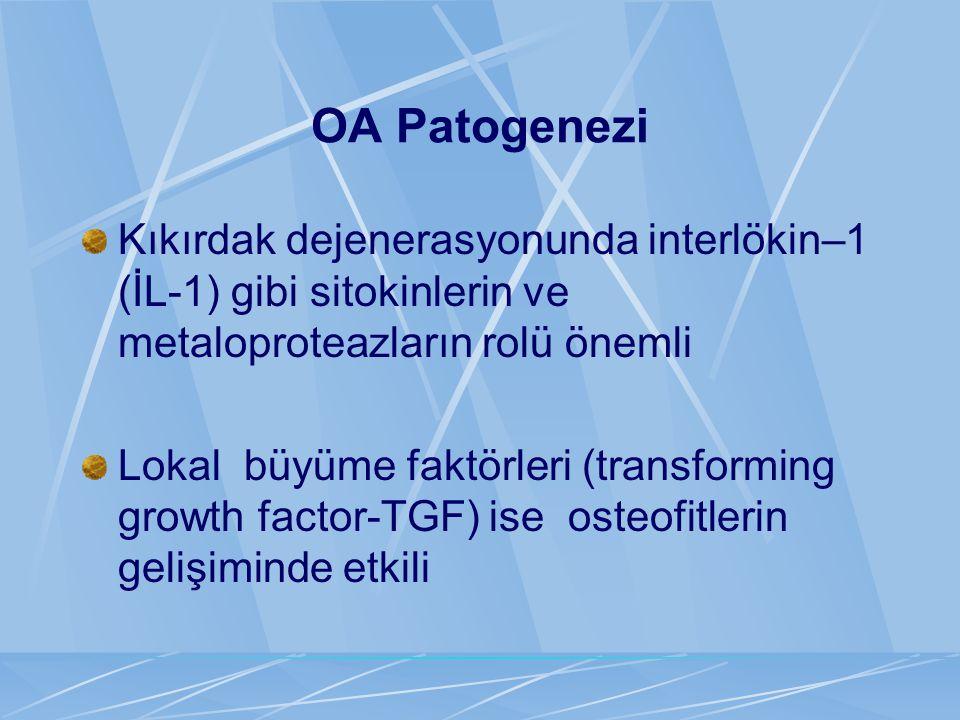 OA Patogenezi Kıkırdak dejenerasyonunda interlökin–1 (İL-1) gibi sitokinlerin ve metaloproteazların rolü önemli Lokal büyüme faktörleri (transforming