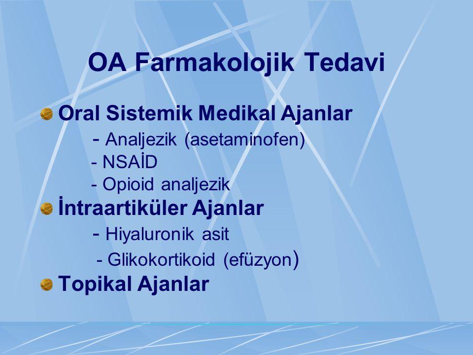 OA Farmakolojik Tedavi Oral Sistemik Medikal Ajanlar - Analjezik (asetaminofen) - NSAİD - Opioid analjezik İntraartiküler Ajanlar - Hiyaluronik asit -