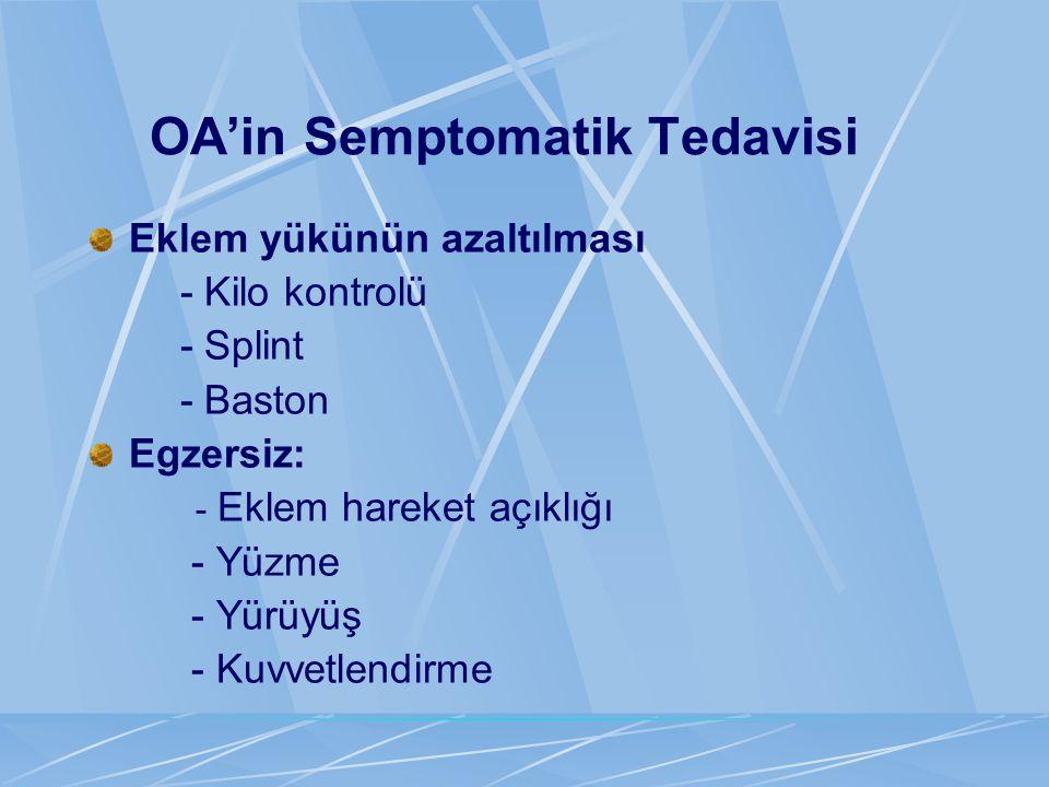 OA'in Semptomatik Tedavisi Eklem yükünün azaltılması - Kilo kontrolü - Splint - Baston Egzersiz: - Eklem hareket açıklığı - Yüzme - Yürüyüş - Kuvvetle