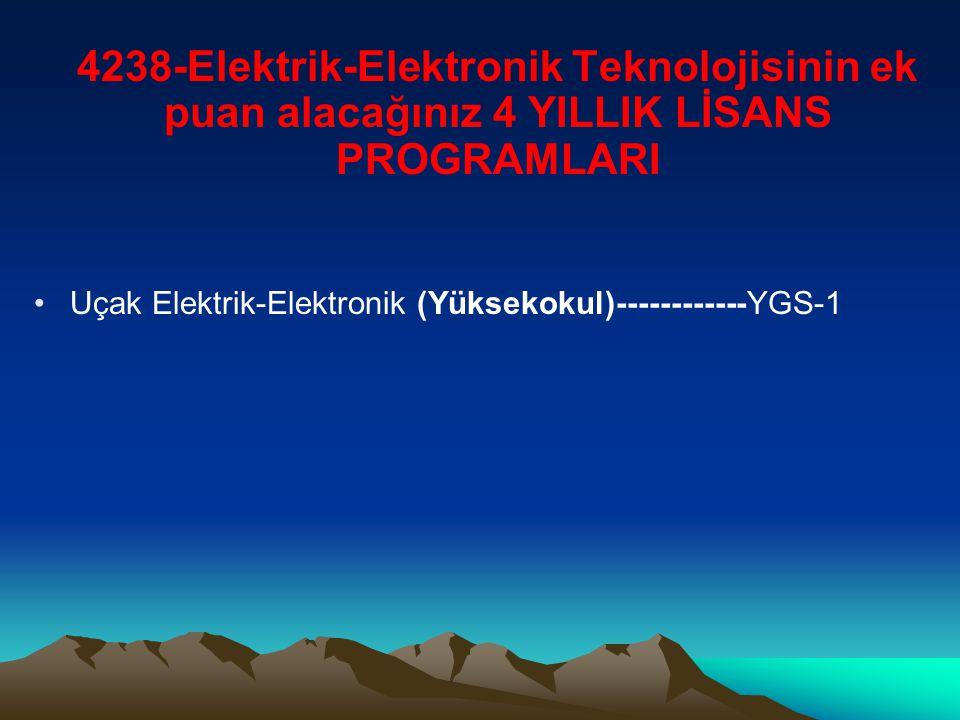 4238-Elektrik-Elektronik Teknolojisinin ek puan alacağınız 4 YILLIK LİSANS PROGRAMLARI Uçak Elektrik-Elektronik (Yüksekokul)------------YGS-1