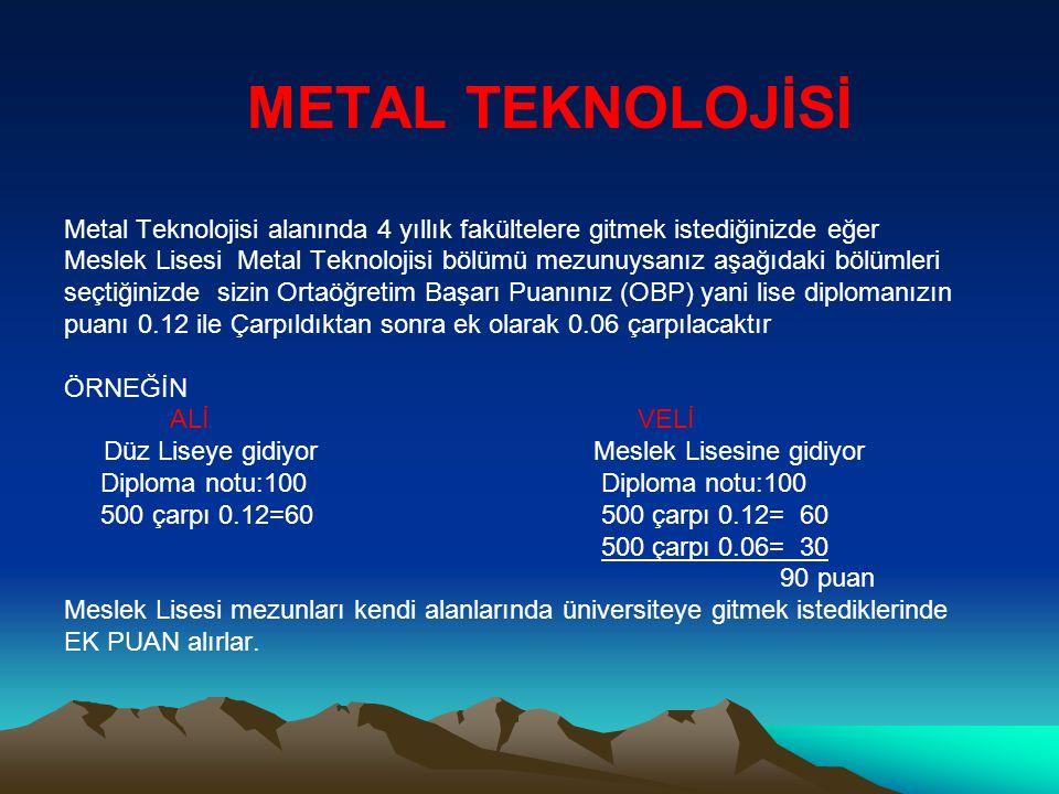 METAL TEKNOLOJİSİ Metal Teknolojisi alanında 4 yıllık fakültelere gitmek istediğinizde eğer Meslek Lisesi Metal Teknolojisi bölümü mezunuysanız aşağıd