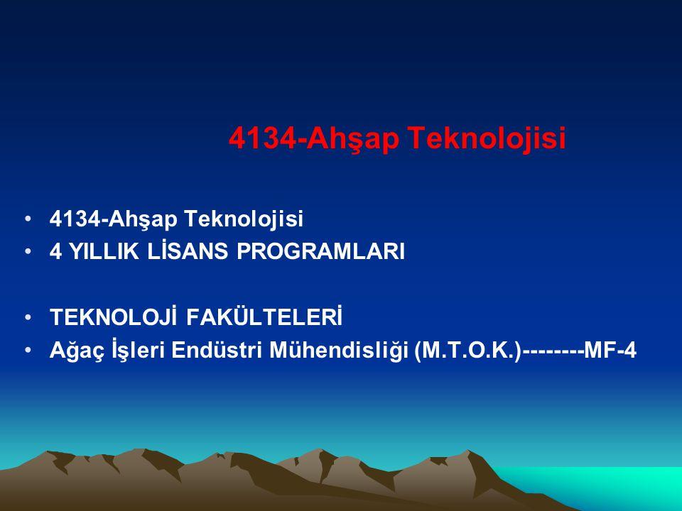 4134-Ahşap Teknolojisi 4 YILLIK LİSANS PROGRAMLARI TEKNOLOJİ FAKÜLTELERİ Ağaç İşleri Endüstri Mühendisliği (M.T.O.K.)--------MF-4