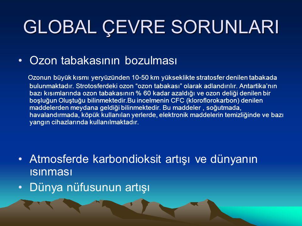 GLOBAL ÇEVRE SORUNLARI Ozon tabakasının bozulması Ozonun büyük kısmı yeryüzünden 10-50 km yükseklikte stratosfer denilen tabakada bulunmaktadır. Strot
