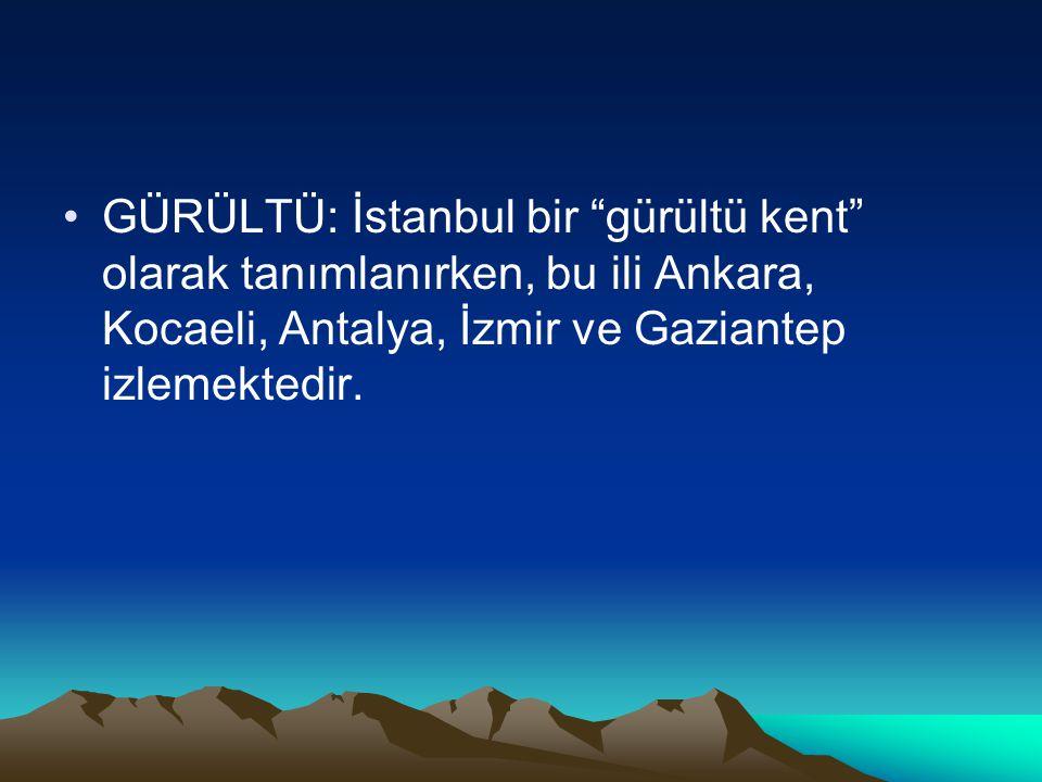 """GÜRÜLTÜ: İstanbul bir """"gürültü kent"""" olarak tanımlanırken, bu ili Ankara, Kocaeli, Antalya, İzmir ve Gaziantep izlemektedir."""