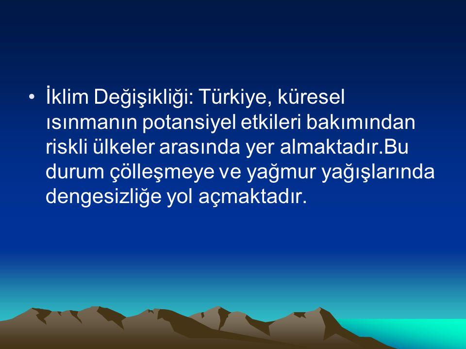 İklim Değişikliği: Türkiye, küresel ısınmanın potansiyel etkileri bakımından riskli ülkeler arasında yer almaktadır.Bu durum çölleşmeye ve yağmur yağı