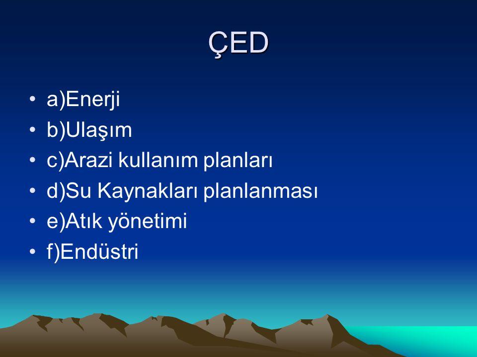 ÇED a)Enerji b)Ulaşım c)Arazi kullanım planları d)Su Kaynakları planlanması e)Atık yönetimi f)Endüstri