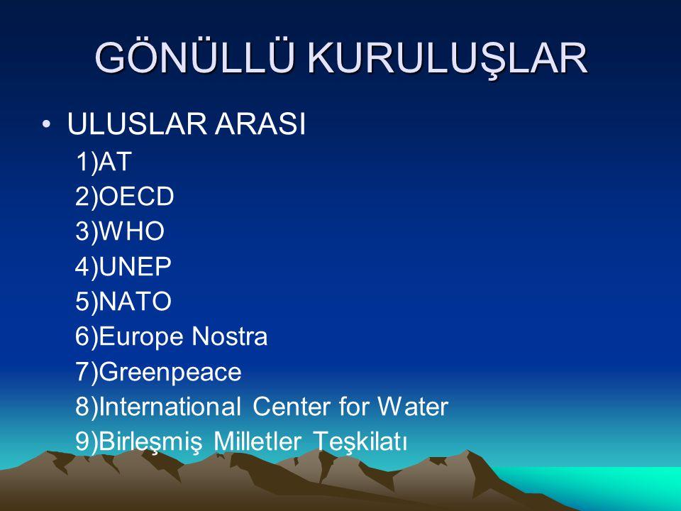 GÖNÜLLÜ KURULUŞLAR ULUSLAR ARASI 1)AT 2)OECD 3)WHO 4)UNEP 5)NATO 6)Europe Nostra 7)Greenpeace 8)International Center for Water 9)Birleşmiş Milletler T