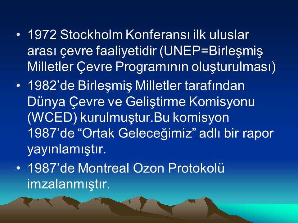 1972 Stockholm Konferansı ilk uluslar arası çevre faaliyetidir (UNEP=Birleşmiş Milletler Çevre Programının oluşturulması) 1982'de Birleşmiş Milletler