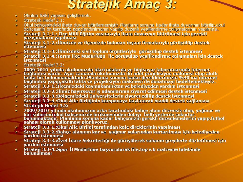 Stratejik Amaç 3: Okulun fiziki yapısını geliştirmek. Stratejik Hedef 3.1: Okul bahçesindeki ihata duvarı bitirilememiştir.Planlama sonuna kadar ihata