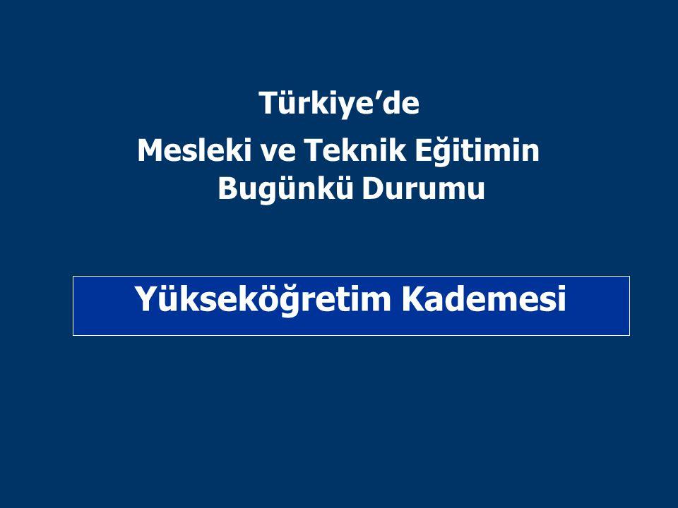 Yükseköğretim Kademesi Türkiye'de Mesleki ve Teknik Eğitimin Bugünkü Durumu