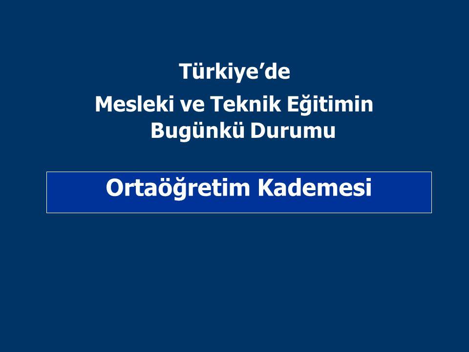 Türkiye'de Mesleki ve Teknik Eğitimin Bugünkü Durumu Ortaöğretim Kademesi