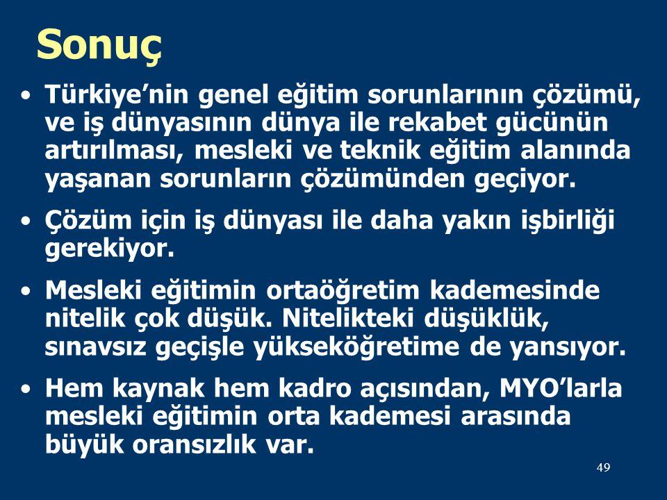 49 Sonuç Türkiye'nin genel eğitim sorunlarının çözümü, ve iş dünyasının dünya ile rekabet gücünün artırılması, mesleki ve teknik eğitim alanında yaşanan sorunların çözümünden geçiyor.