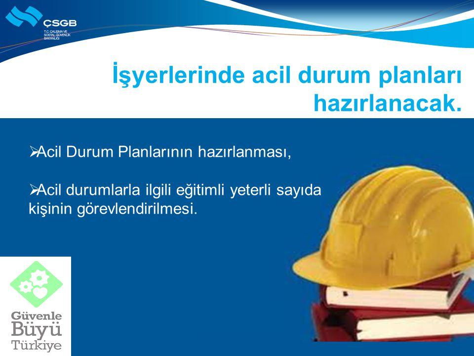 İşyerlerinde acil durum planları hazırlanacak.  Acil Durum Planlarının hazırlanması,  Acil durumlarla ilgili eğitimli yeterli sayıda kişinin görevle