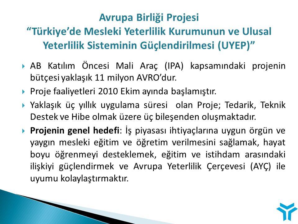  AB Katılım Öncesi Mali Araç (IPA) kapsamındaki projenin bütçesi yaklaşık 11 milyon AVRO'dur.  Proje faaliyetleri 2010 Ekim ayında başlamıştır.  Ya