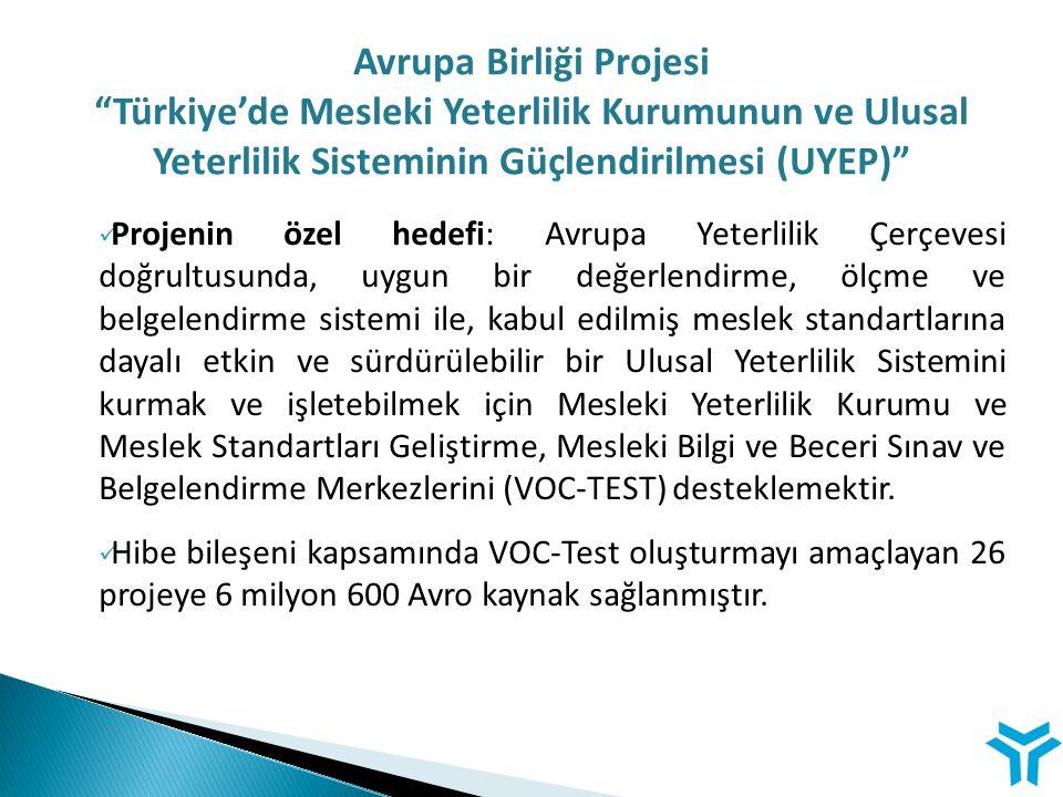 """Avrupa Birliği Projesi """"Türkiye'de Mesleki Yeterlilik Kurumunun ve Ulusal Yeterlilik Sisteminin Güçlendirilmesi (UYEP)"""" Projenin özel hedefi: Avrupa Y"""