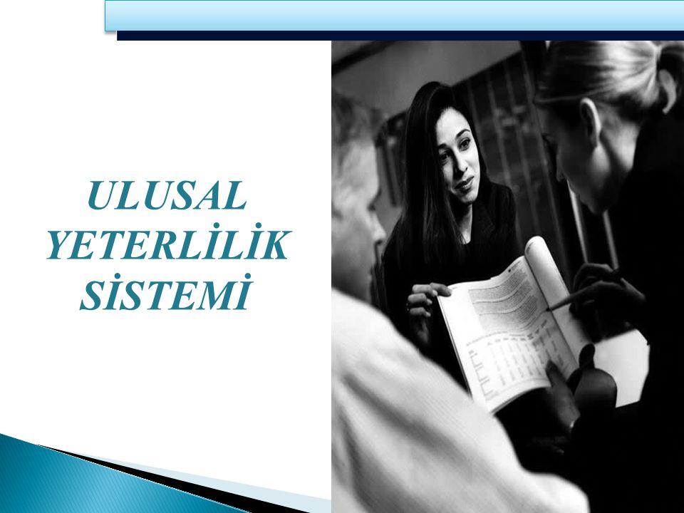 Ulusal Yeterlilik Sistemi (UYS); teknik ve meslekî eğitim standartlarının ve bu standartları temel alan yeterliliklerin geliştirilmesi, uygulanması ve bunlara ilişkin yetkilendirme, denetim, ölçme ve değerlendirme, belgelendirme ve sertifikalandırmaya ilişkin kural ve faaliyetler bütünüdür.
