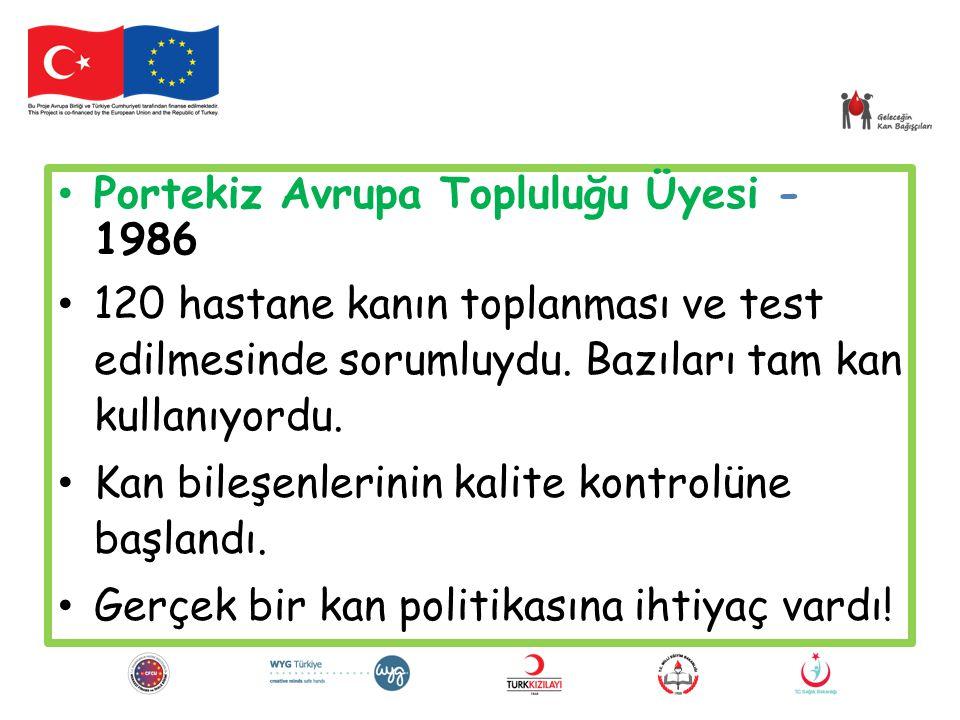 Portekiz Avrupa Topluluğu Üyesi - 1986 120 hastane kanın toplanması ve test edilmesinde sorumluydu. Bazıları tam kan kullanıyordu. Kan bileşenlerinin