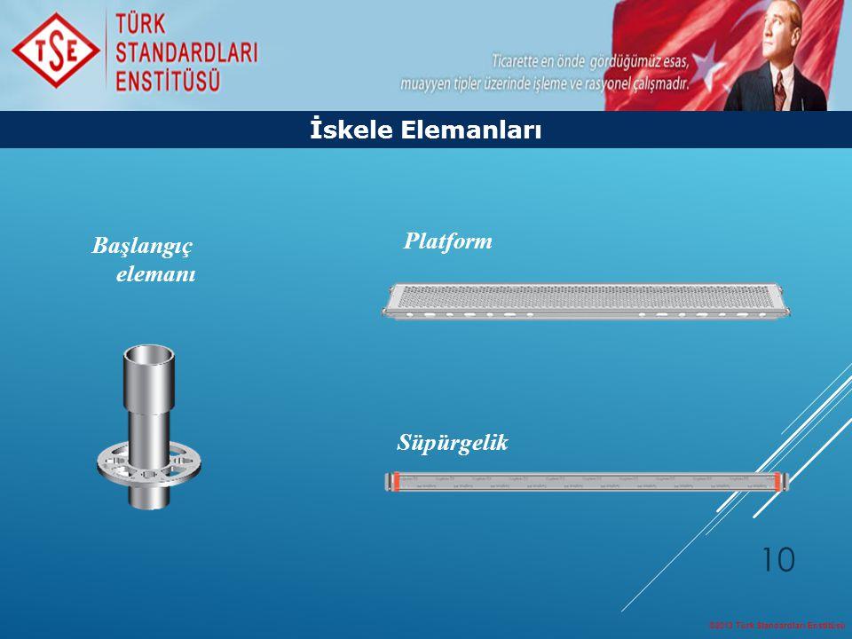 ©2013 Türk Standardları Enstitüsü 10 İskele Elemanları Başlangıç elemanı Platform Süpürgelik