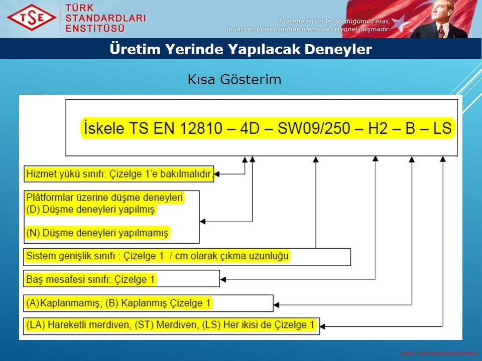 ©2013 Türk Standardları Enstitüsü 21 Üretim Yerinde Yapılacak Deneyler Kısa Gösterim