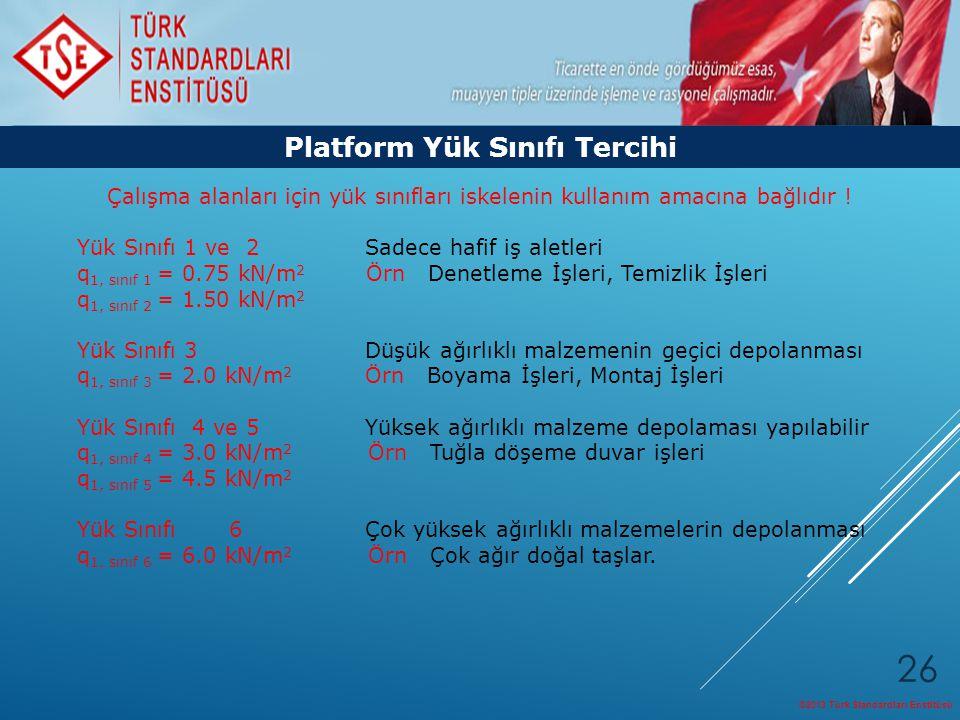 ©2013 Türk Standardları Enstitüsü 26 Platform Yük Sınıfı Tercihi Çalışma alanları için yük sınıfları iskelenin kullanım amacına bağlıdır ! Yük Sınıfı