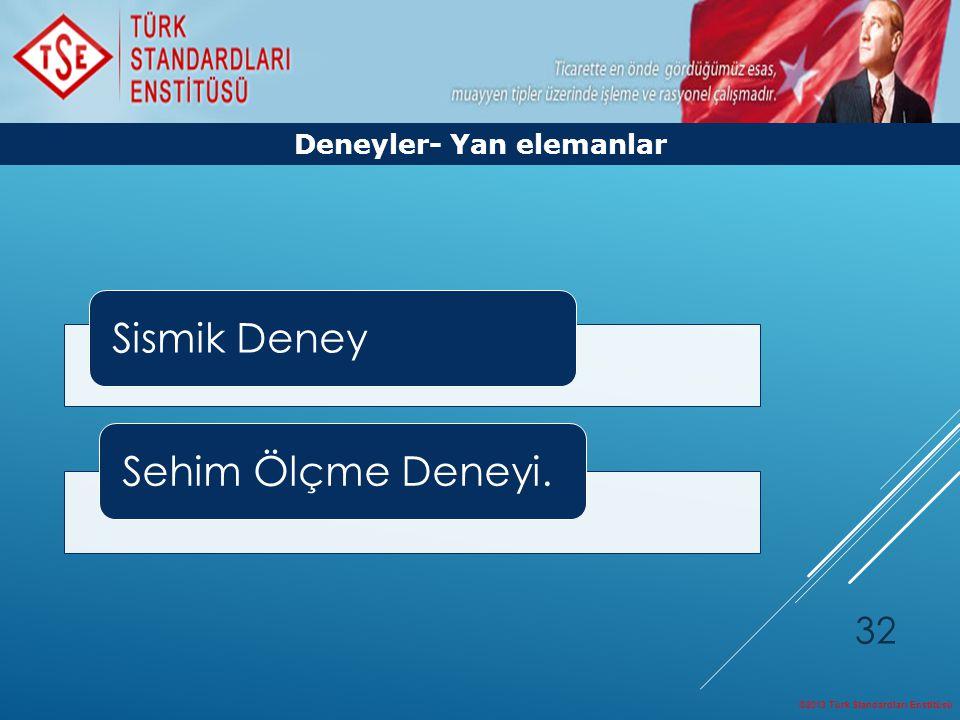 ©2013 Türk Standardları Enstitüsü 32 Deneyler- Yan elemanlar Sismik DeneySehim Ölçme Deneyi.