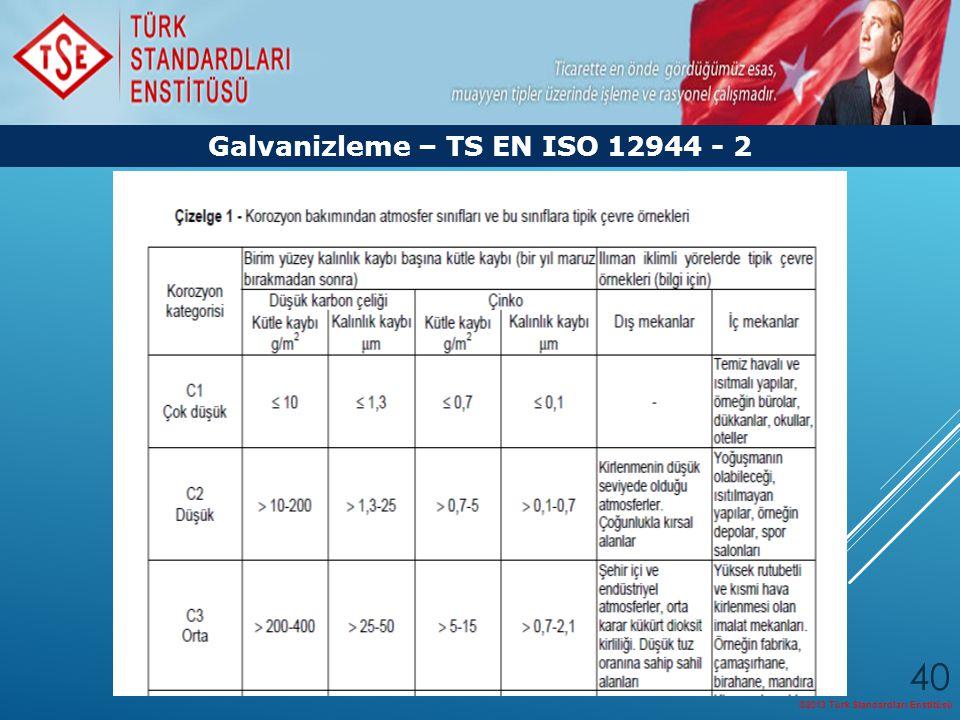 ©2013 Türk Standardları Enstitüsü 40 Galvanizleme – TS EN ISO 12944 - 2