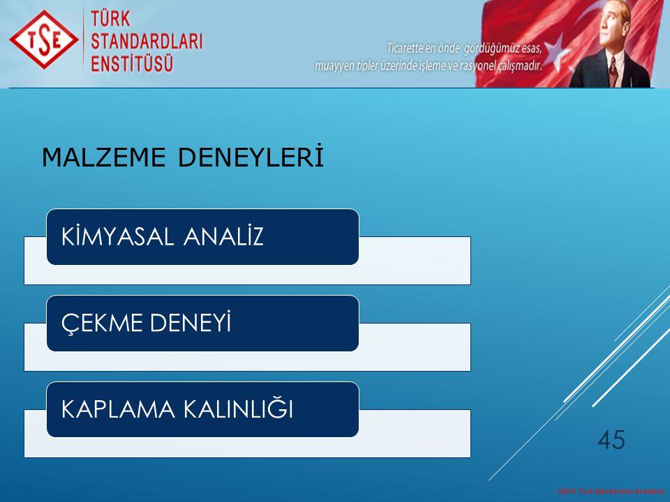 ©2013 Türk Standardları Enstitüsü 45 KİMYASAL ANALİZÇEKME DENEYİKAPLAMA KALINLIĞI MALZEME DENEYLERİ