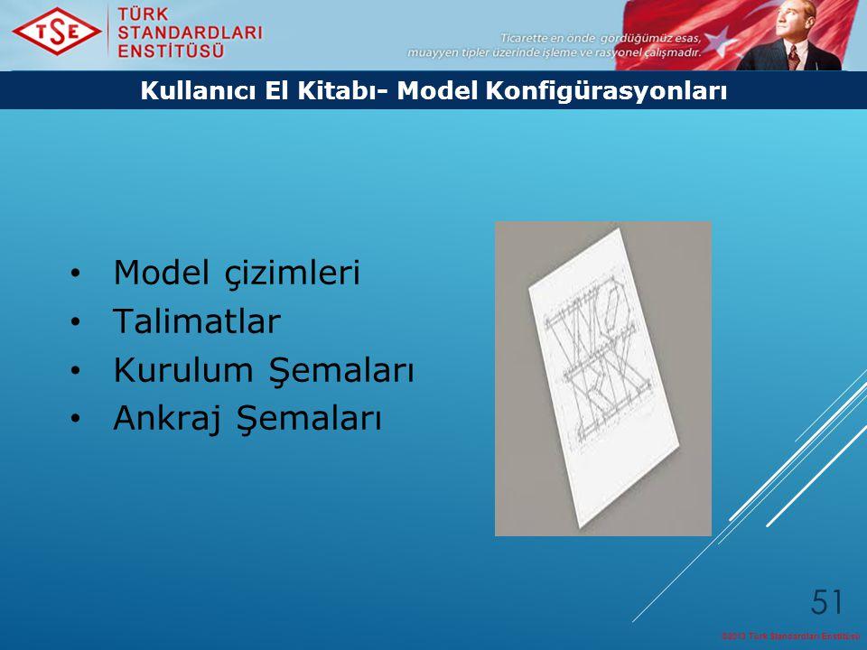 ©2013 Türk Standardları Enstitüsü 51 Model çizimleri Talimatlar Kurulum Şemaları Ankraj Şemaları Kullanıcı El Kitabı- Model Konfigürasyonları