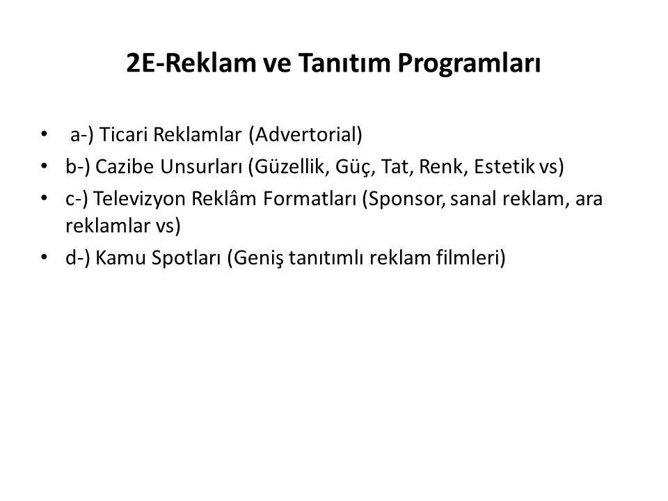 2E-Reklam ve Tanıtım Programları a-) Ticari Reklamlar (Advertorial) b-) Cazibe Unsurları (Güzellik, Güç, Tat, Renk, Estetik vs) c-) Televizyon Reklâm