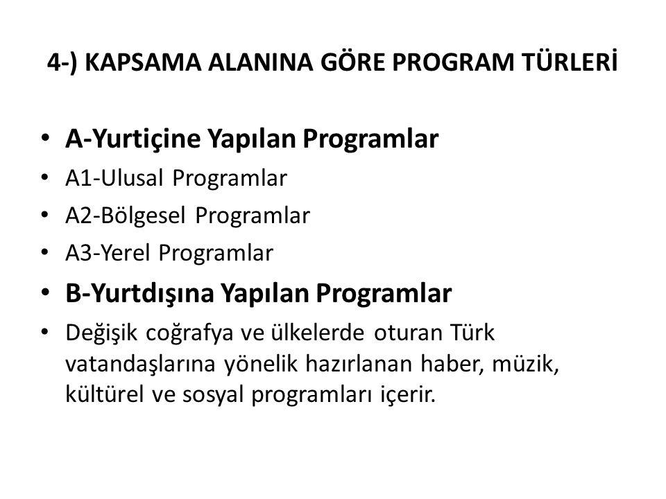 4-) KAPSAMA ALANINA GÖRE PROGRAM TÜRLERİ A-Yurtiçine Yapılan Programlar A1-Ulusal Programlar A2-Bölgesel Programlar A3-Yerel Programlar B-Yurtdışına Y