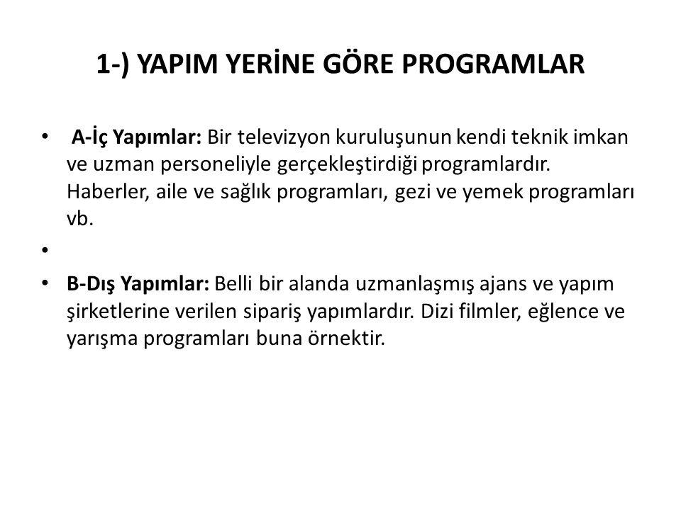 1-) YAPIM YERİNE GÖRE PROGRAMLAR A-İç Yapımlar: Bir televizyon kuruluşunun kendi teknik imkan ve uzman personeliyle gerçekleştirdiği programlardır. Ha