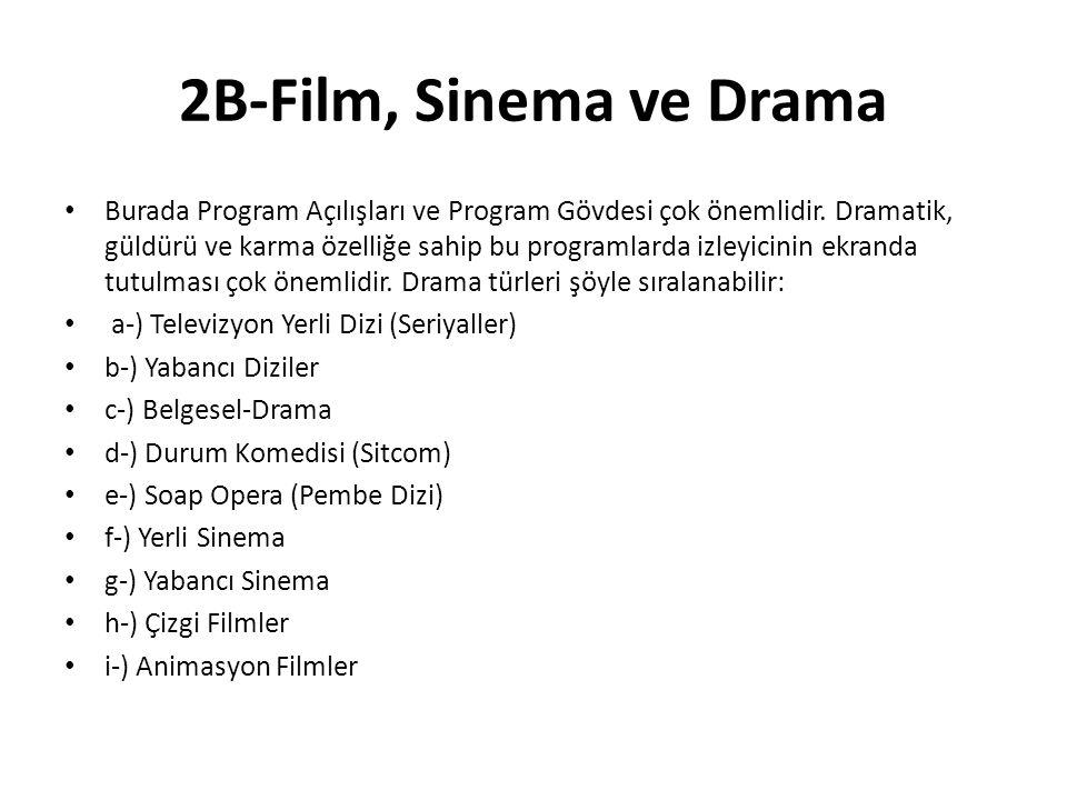 2B-Film, Sinema ve Drama Burada Program Açılışları ve Program Gövdesi çok önemlidir. Dramatik, güldürü ve karma özelliğe sahip bu programlarda izleyic