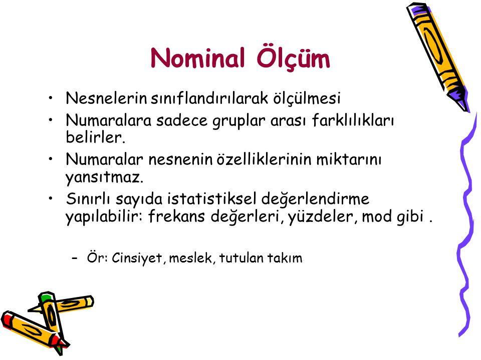Nominal Ölçüm Nesnelerin sınıflandırılarak ölçülmesi Numaralara sadece gruplar arası farklılıkları belirler. Numaralar nesnenin özelliklerinin miktarı