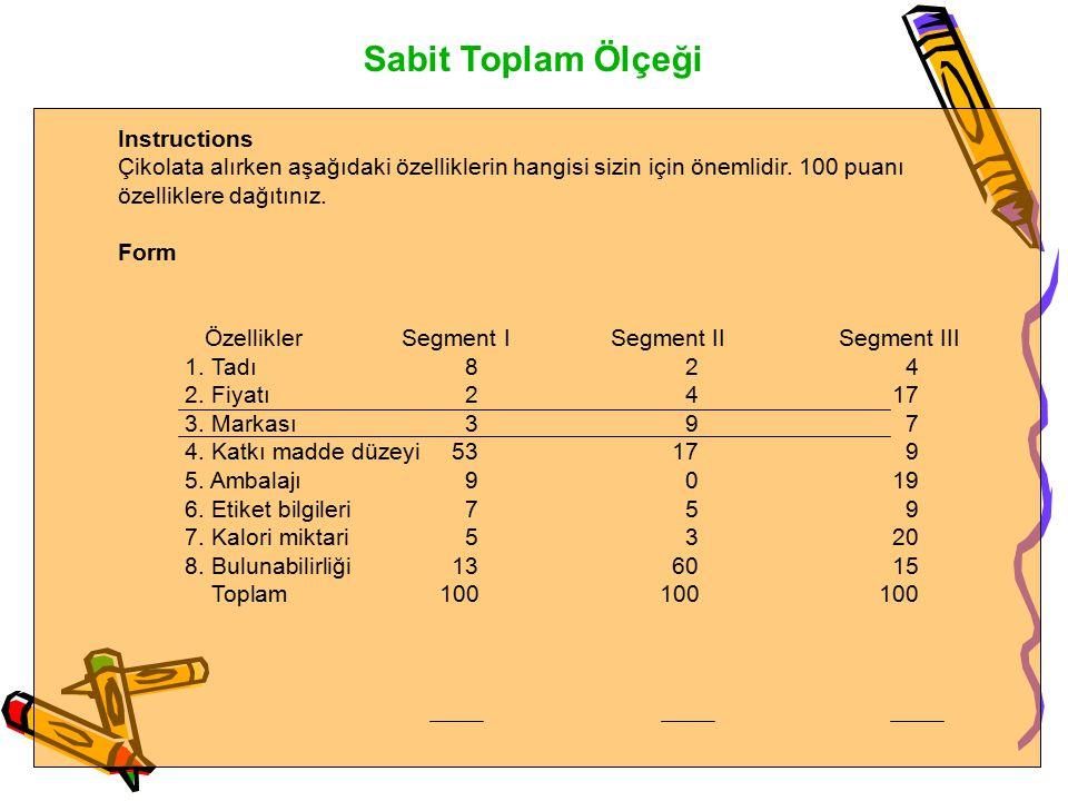Sabit Toplam Ölçeği Figure 9.8 Constant Sum ScalingFigure 9.8 Constant Sum Scaling Instructions Çikolata alırken aşağıdaki özelliklerin hangisi sizin