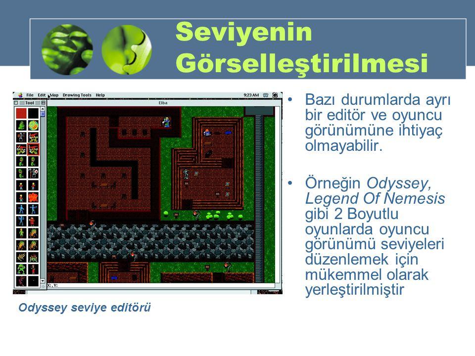 Seviyenin Görselleştirilmesi Bazı durumlarda ayrı bir editör ve oyuncu görünümüne ihtiyaç olmayabilir. Örneğin Odyssey, Legend Of Nemesis gibi 2 Boyut