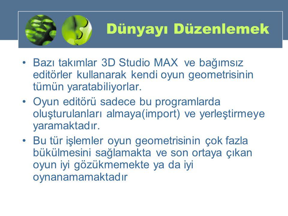 Dünyayı Düzenlemek Bazı takımlar 3D Studio MAX ve bağımsız editörler kullanarak kendi oyun geometrisinin tümün yaratabiliyorlar. Oyun editörü sadece b