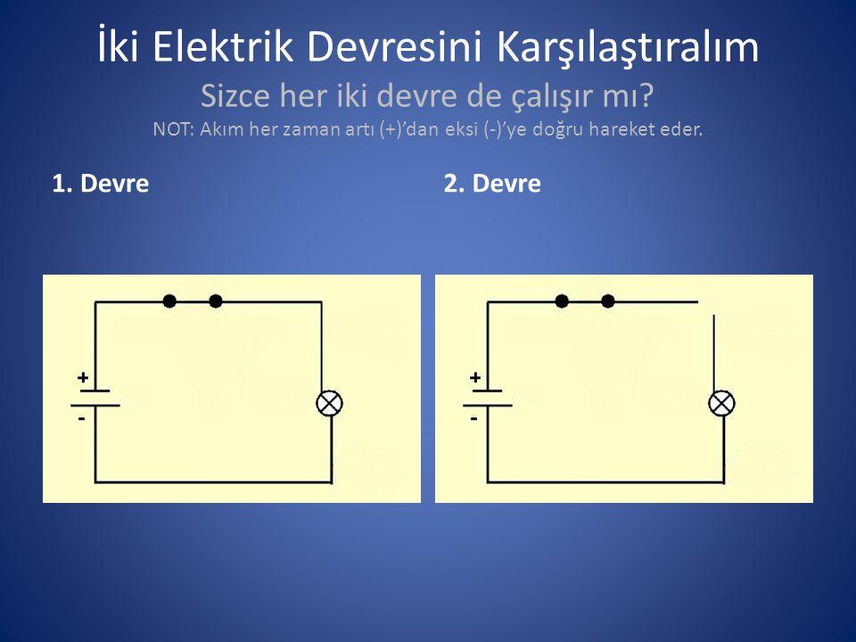 İki Elektrik Devresini Karşılaştıralım Sizce her iki devre de çalışır mı? NOT: Akım her zaman artı (+)'dan eksi (-)'ye doğru hareket eder. 1. Devre2.