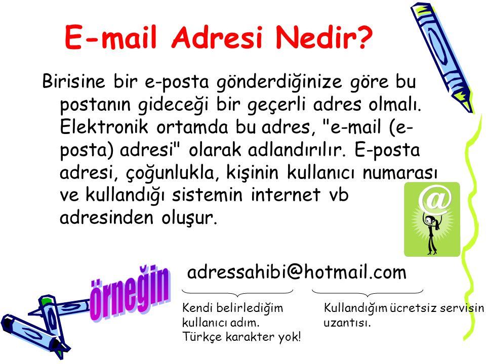 E-mail Adresi Nedir? Birisine bir e-posta gönderdiğinize göre bu postanın gideceği bir geçerli adres olmalı. Elektronik ortamda bu adres,